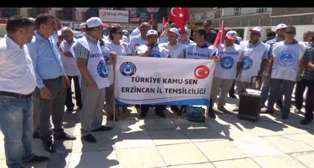 Kamu Sen Erzincan İl Temsilciliği memur maaş zammı teklifini protesto etti