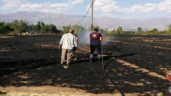 Arazi yangınında maddi hasar meydana geldi