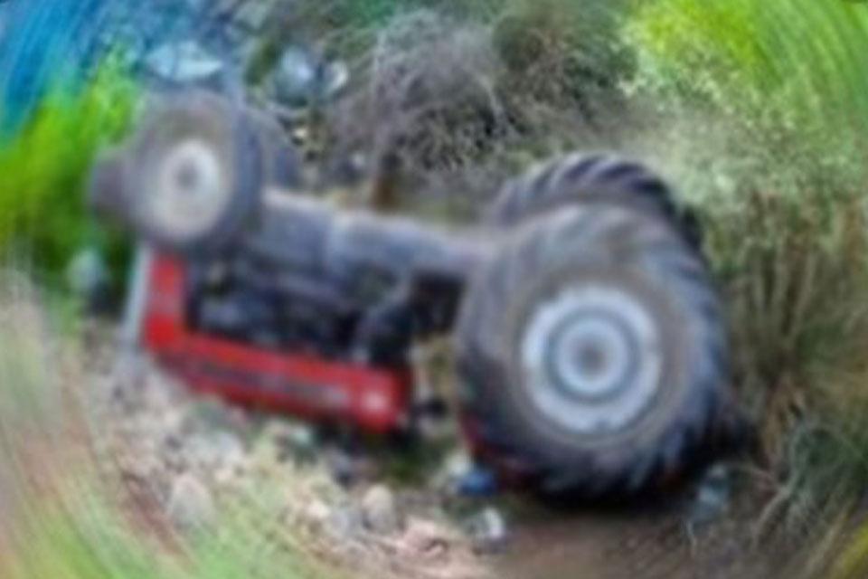 Kontrolden çıkan traktör devrildi: 3 yaralı
