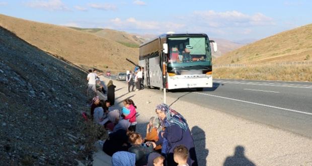 Erzincan'da yolcu otobüsü yandı