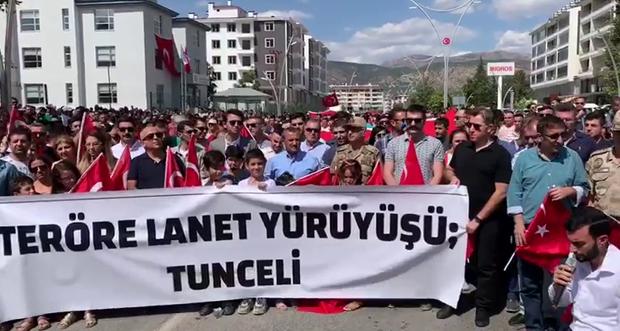 TUNCELİ'DE TERÖRE LANET YÜRÜYÜŞÜ GERÇEKLEŞTİRİLDİ