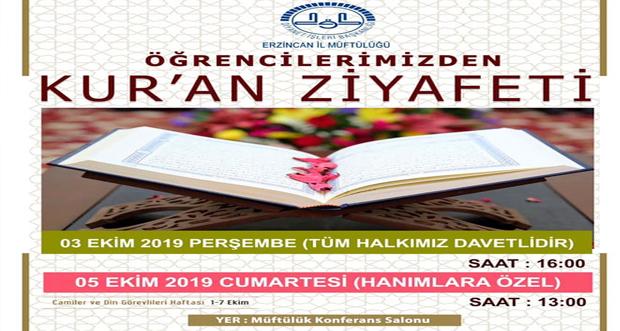 """""""Kur'an Ziyafeti"""" programı düzenlenecek"""