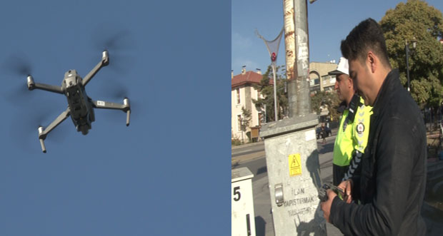 Erzincan'da Drone'yle birlikte trafik denetimi sıklaştı