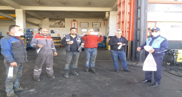 Erzincan'da sanayi esnafına maske dağıtımı yapıldı