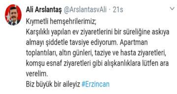 """VALİ ARSLANTAŞ'DAN """"ZİYARETLERE ARA VERİN"""" ÇAĞRISINDA BULUNDU"""