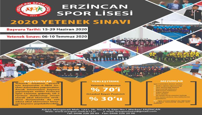 Erzincan Spor Lisesi yeni kayıtlarına başladı
