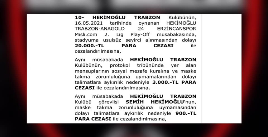 PFDK'DAN HEKİMOĞLU TRABZON'A CEZA