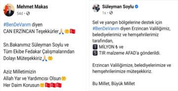 BAKAN SOYLU'DAN ERZİNCAN'A TEŞEKKÜR